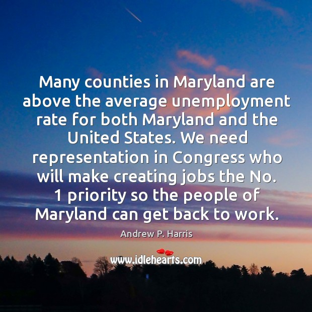 Image, Many counties in maryland are above the average unemployment rate for both maryland and the united states.