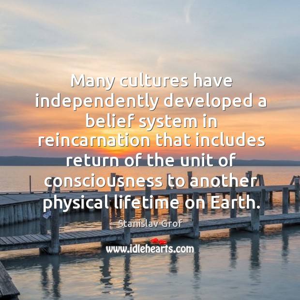 Many cultures have independently developed a belief system in reincarnation that Stanislav Grof Picture Quote