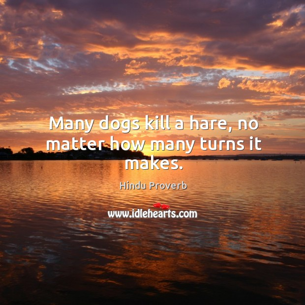 Many dogs kill a hare, no matter how many turns it makes. Hindu Proverbs Image