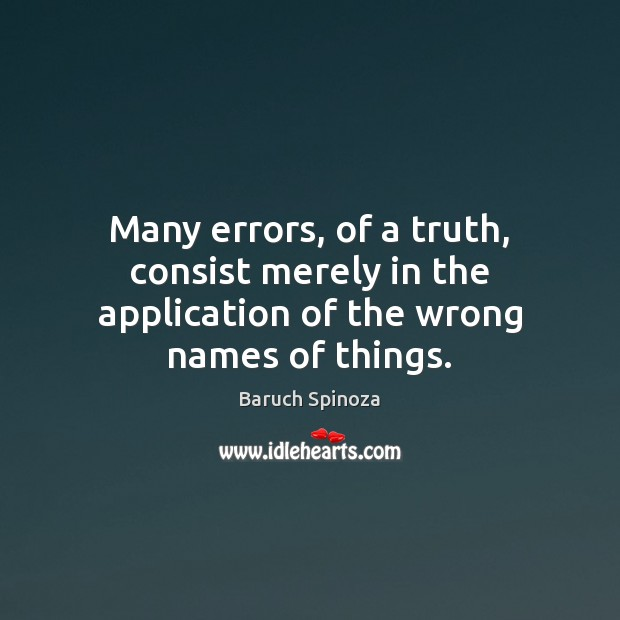 Image, Many errors, of a truth, consist merely in the application of the wrong names of things.