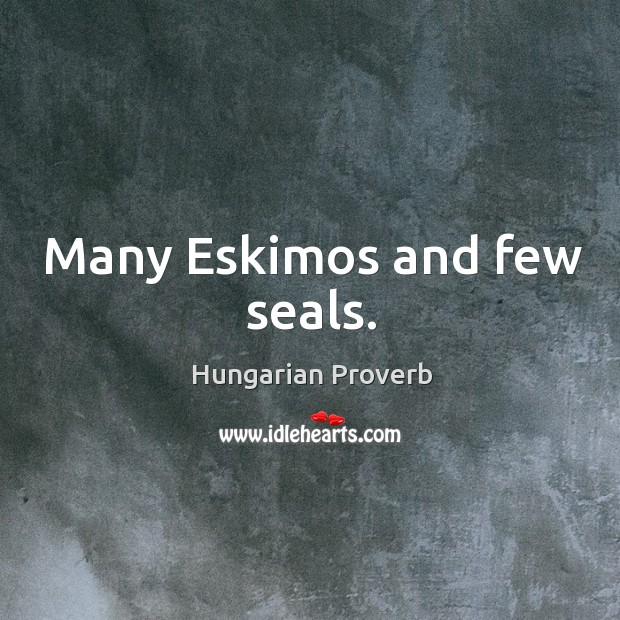 Many eskimos and few seals. Image