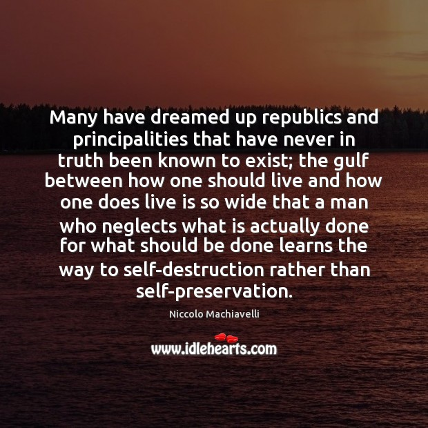 Many have dreamed up republics and principalities that have never in truth Image