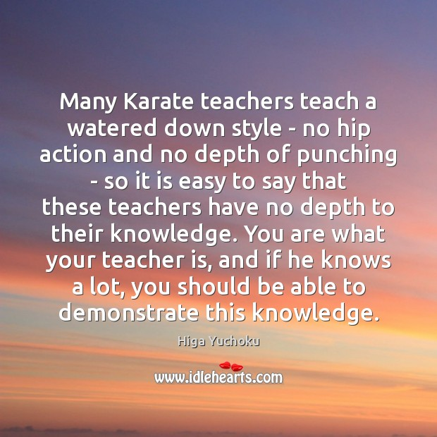 Many Karate teachers teach a watered down style – no hip action Teacher Quotes Image