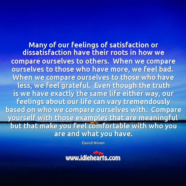 Many of our feelings of satisfaction or dissatisfaction have their roots in Image