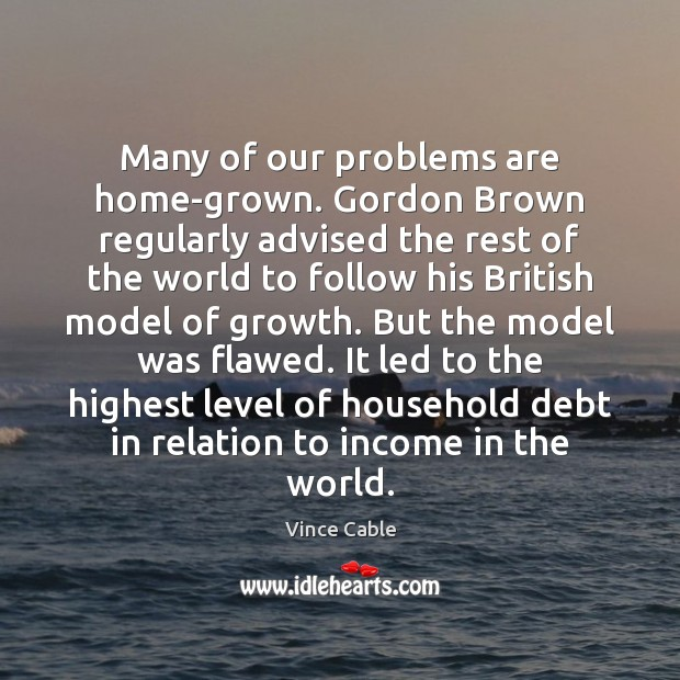 Many of our problems are home-grown. Gordon Brown regularly advised the rest Image
