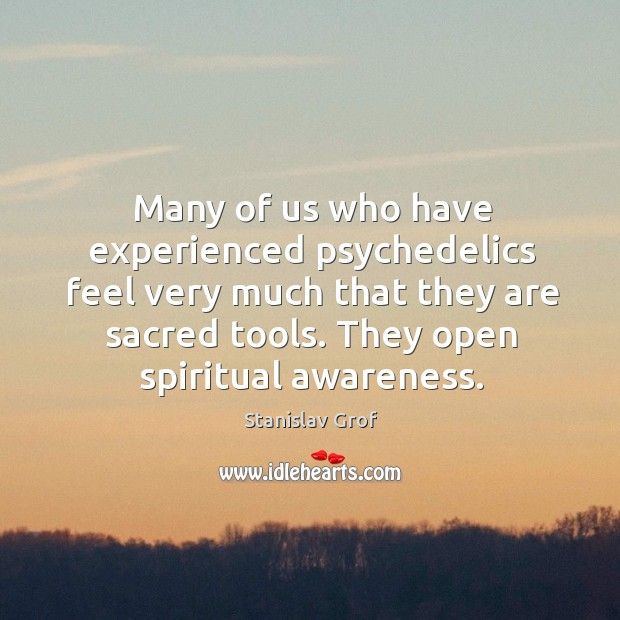 Many of us who have experienced psychedelics feel very much that they are sacred tools. Stanislav Grof Picture Quote