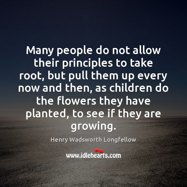 Many people do not allow their principles to take root, but pull Image