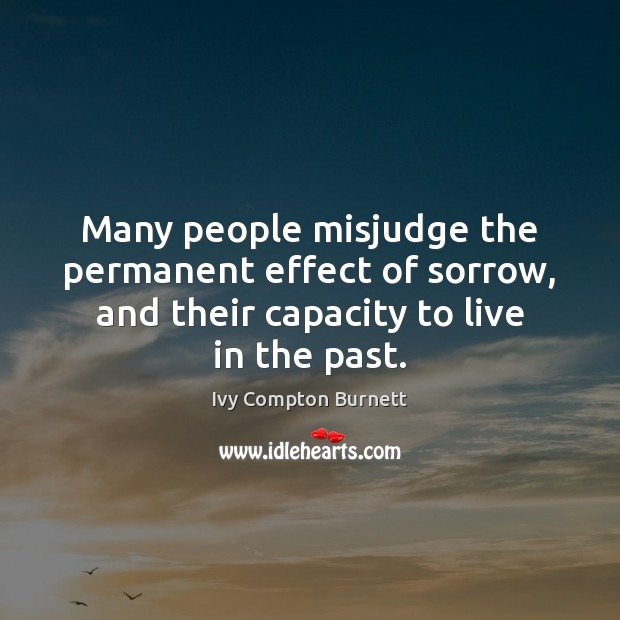 Many people misjudge the permanent effect of sorrow, and their capacity to Image