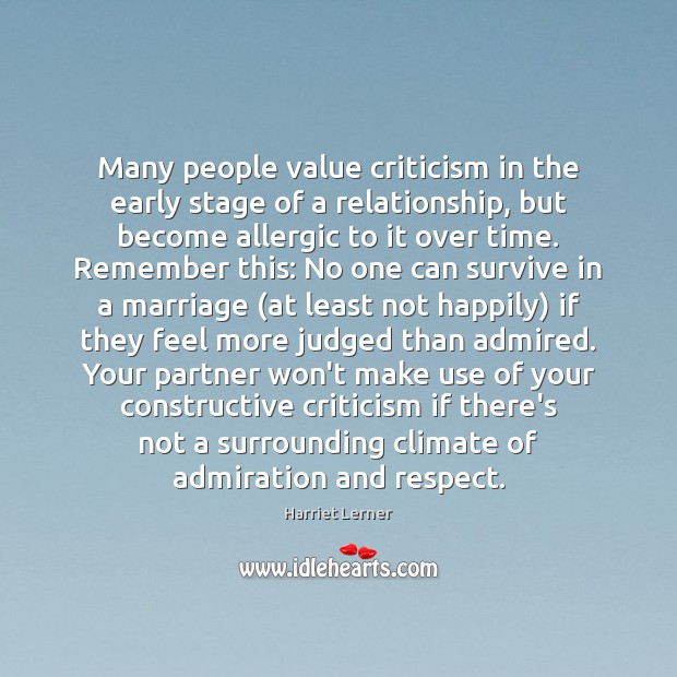 Image, Many people value criticism in the early stage of a relationship, but