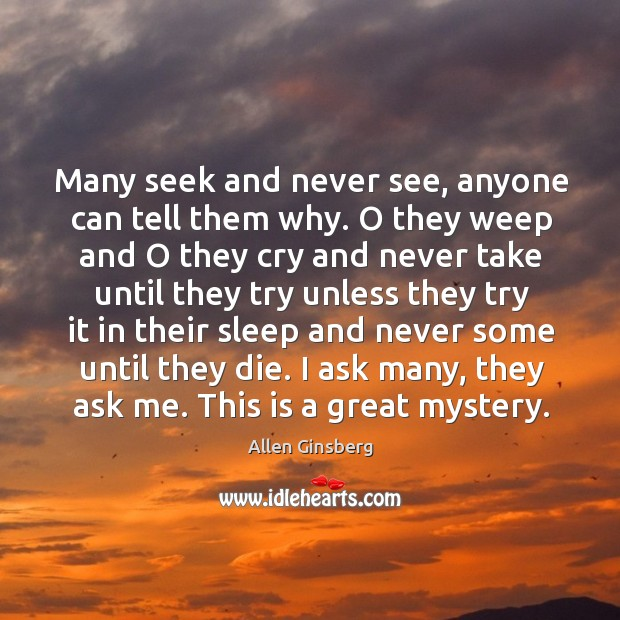 Image, Many seek and never see, anyone can tell them why. O they