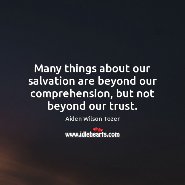 Image, Many things about our salvation are beyond our comprehension, but not beyond our trust.