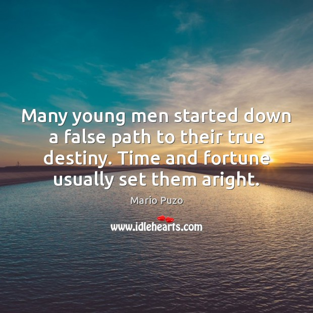Many young men started down a false path to their true destiny. Mario Puzo Picture Quote
