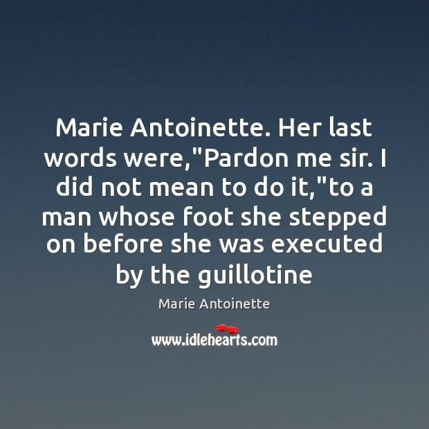 """Marie Antoinette. Her last words were,""""Pardon me sir. I did not Image"""