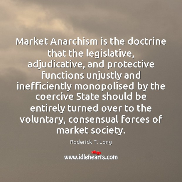 Image, Market Anarchism is the doctrine that the legislative, adjudicative, and protective functions