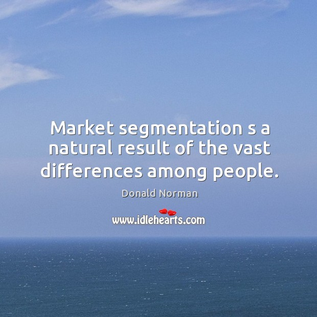 Market segmentation s a natural result of the vast differences among people. Image