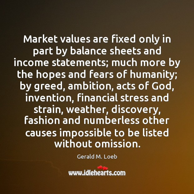 Market values are fixed only in part by balance sheets and income Income Quotes Image