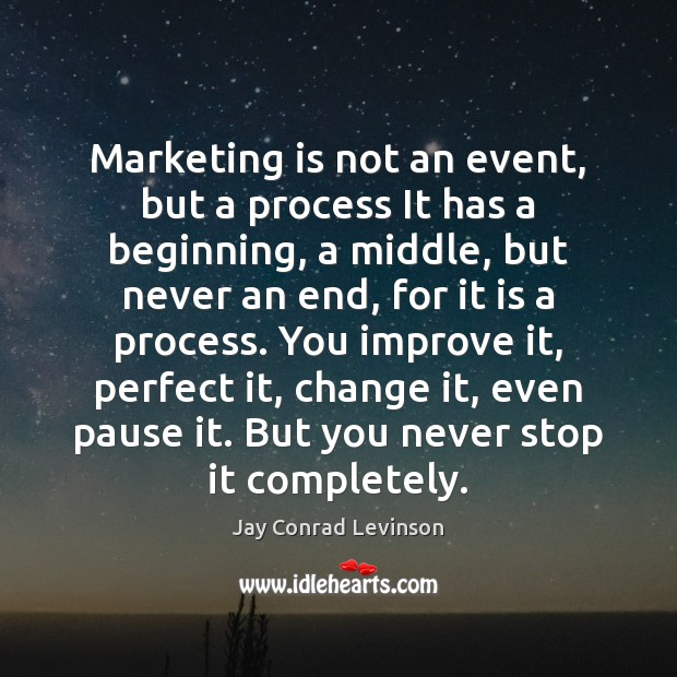 Marketing is not an event, but a process It has a beginning, Marketing Quotes Image