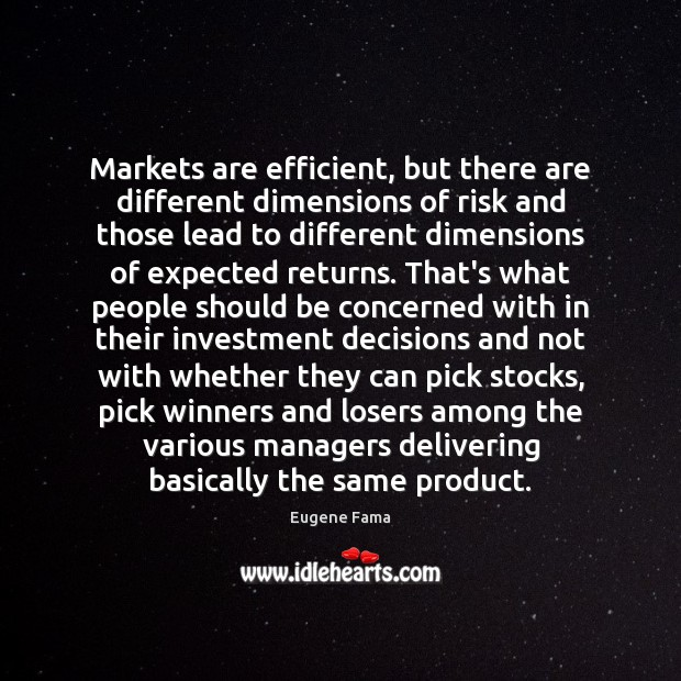 Markets are efficient, but there are different dimensions of risk and those Investment Quotes Image