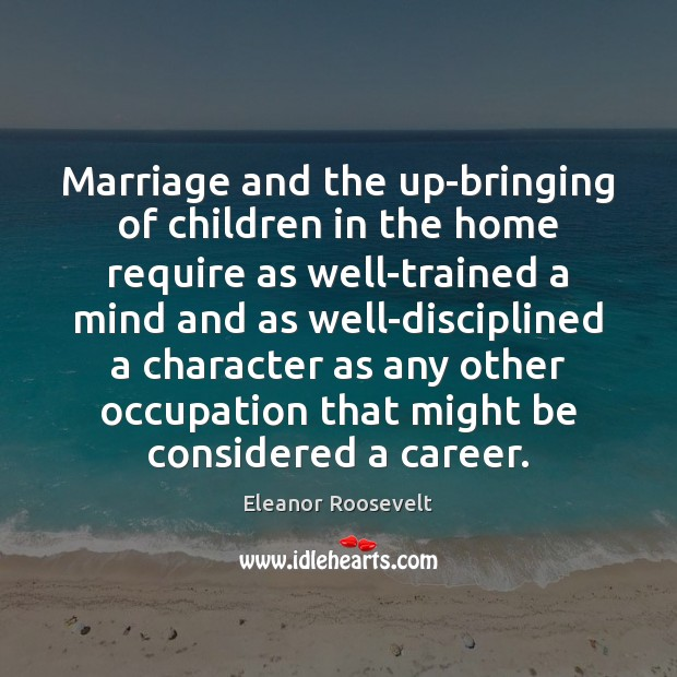 Image, Marriage and the up-bringing of children in the home require as well-trained