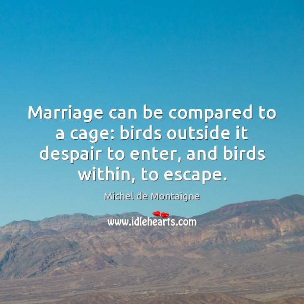 Image, Marriage can be compared to a cage: birds outside it despair to
