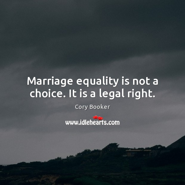 Marriage equality is not a choice. It is a legal right. Equality Quotes Image