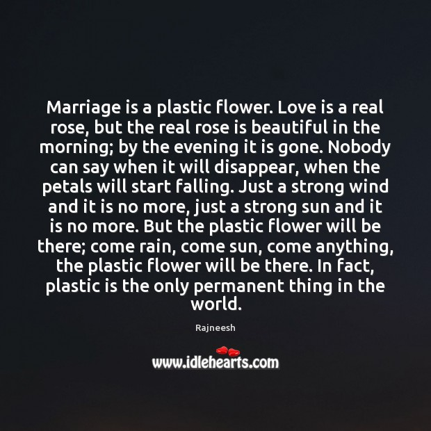 Image, Marriage is a plastic flower. Love is a real rose, but the