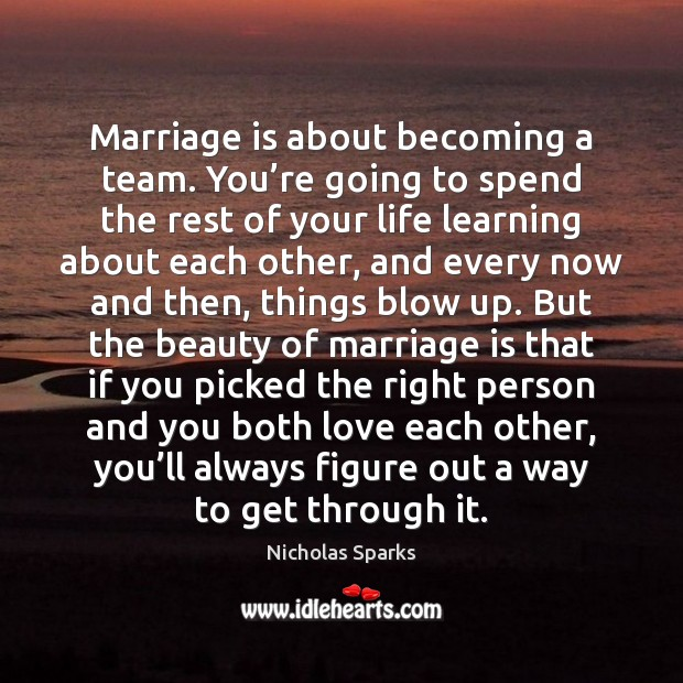 Marriage is about becoming a team. You're going to spend the Image