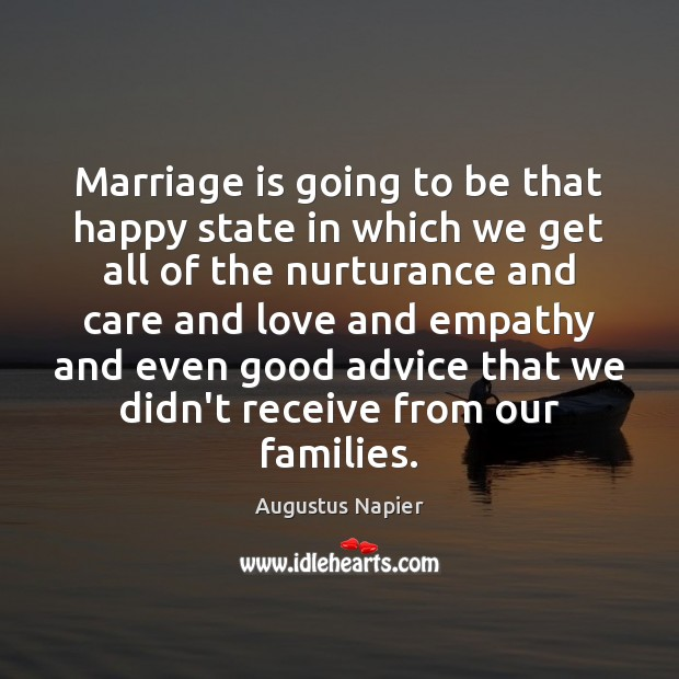 Image, Marriage is going to be that happy state in which we get