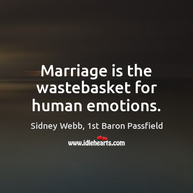 Marriage is the wastebasket for human emotions. Image