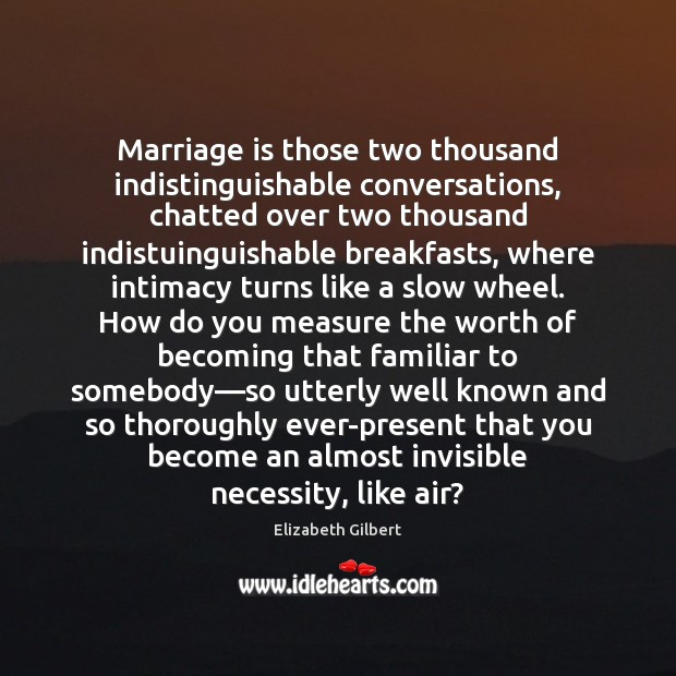 Marriage is those two thousand indistinguishable conversations, chatted over two thousand indistuinguishable Elizabeth Gilbert Picture Quote