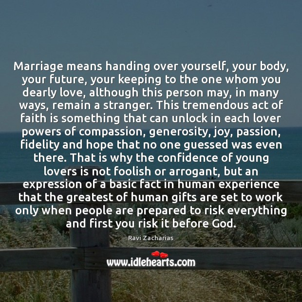Marriage means handing over yourself, your body, your future, your keeping to Image