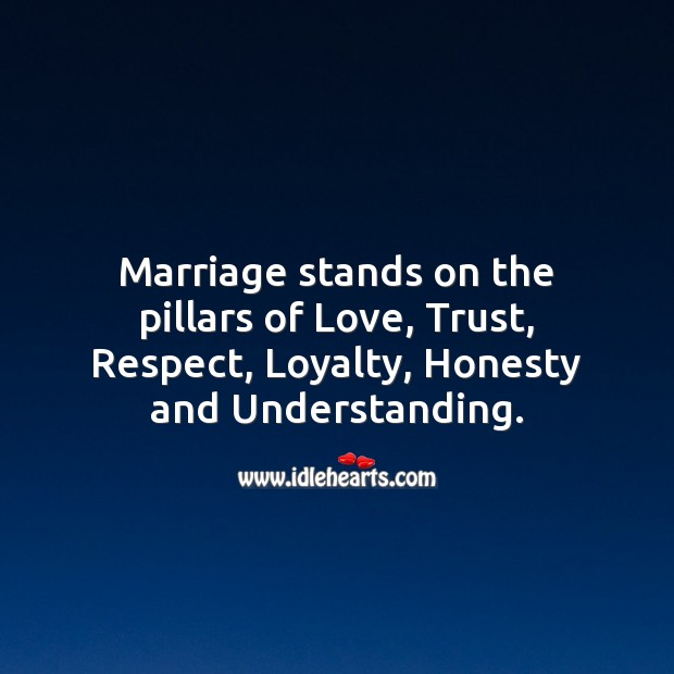 Marriage stands on the pillars of Love, Trust, Respect, Loyalty, Honesty. Marriage Quotes Image