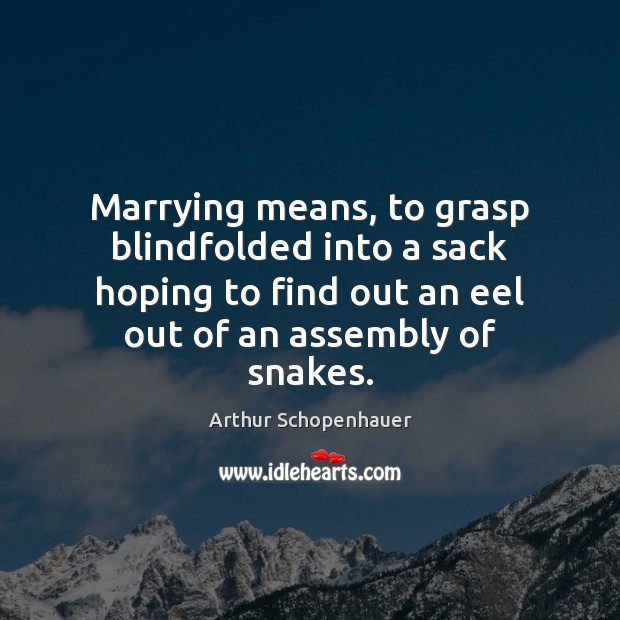 Marrying means, to grasp blindfolded into a sack hoping to find out Arthur Schopenhauer Picture Quote