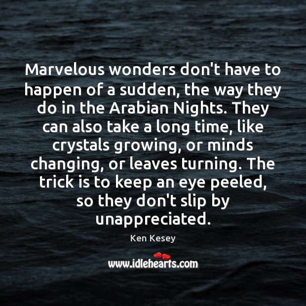 Marvelous wonders don't have to happen of a sudden, the way they Unappreciated Quotes Image