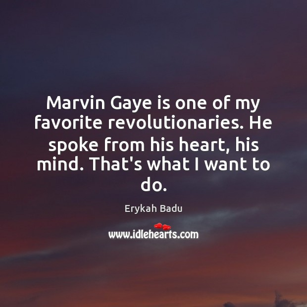 Marvin Gaye is one of my favorite revolutionaries. He spoke from his Erykah Badu Picture Quote