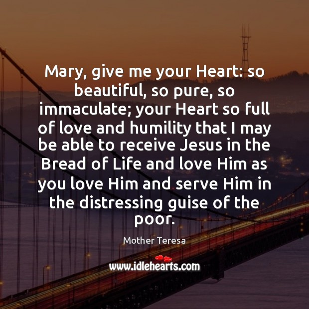 Image, Mary, give me your Heart: so beautiful, so pure, so immaculate; your
