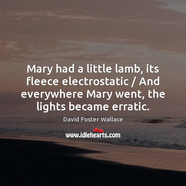 Mary had a little lamb, its fleece electrostatic / And everywhere Mary went, Image