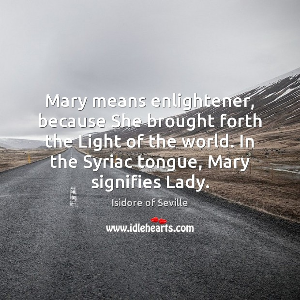 Mary means enlightener, because She brought forth the Light of the world. Image