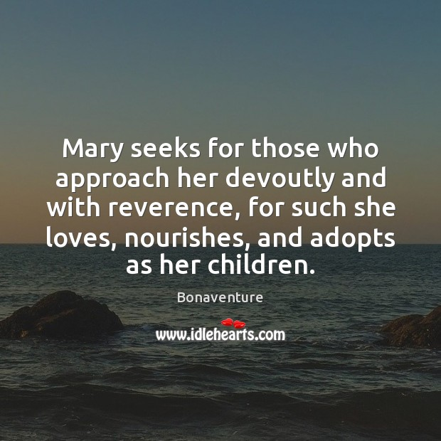 Image, Mary seeks for those who approach her devoutly and with reverence, for