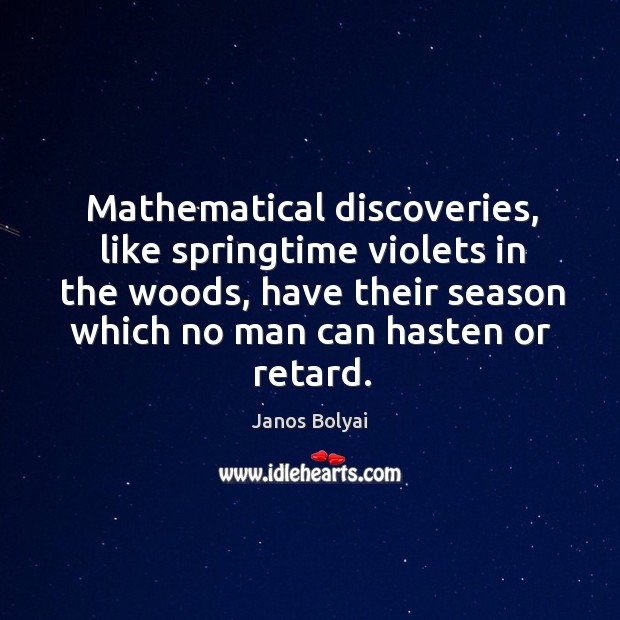 Mathematical discoveries, like springtime violets in the woods, have their season which no man can hasten or retard. Janos Bolyai Picture Quote