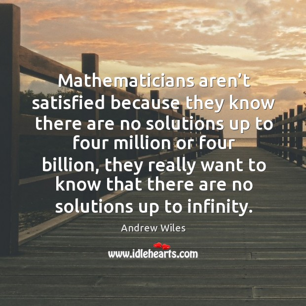 Mathematicians aren't satisfied because they know there are no solutions up to Andrew Wiles Picture Quote