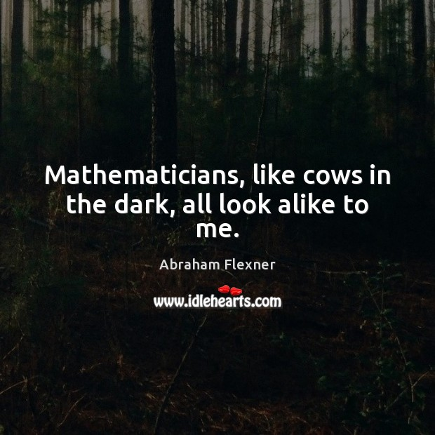 Image, Mathematicians, like cows in the dark, all look alike to me.