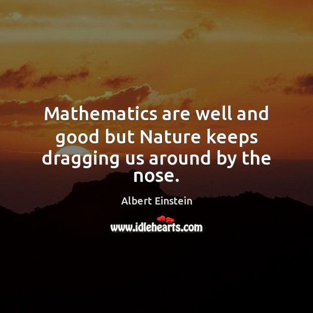 Image about Mathematics are well and good but Nature keeps dragging us around by the nose.