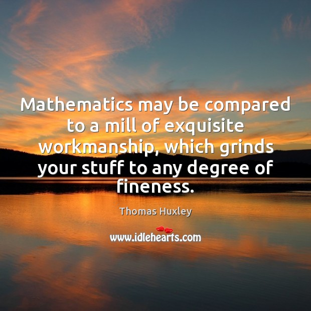 Mathematics may be compared to a mill of exquisite workmanship, which grinds Thomas Huxley Picture Quote
