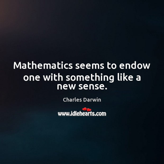 Mathematics seems to endow one with something like a new sense. Image