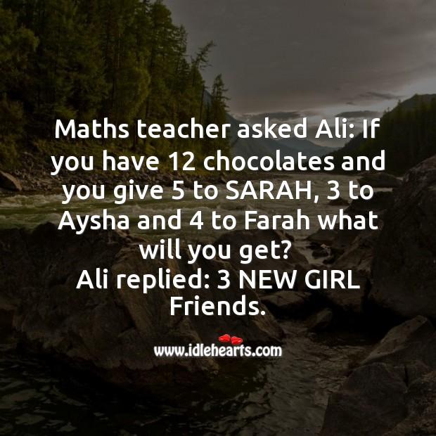 Maths teacher asks student Funny Messages Image