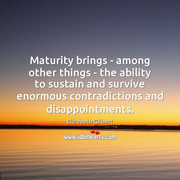 Maturity brings – among other things – the ability to sustain and Elizabeth Gilbert Picture Quote