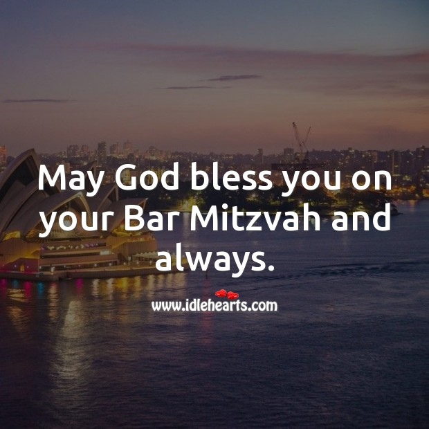 May God bless you on your Bar Mitzvah and always. Bar Mitzvah Messages Image