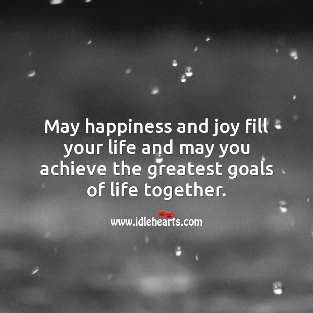 May happiness and joy fill your life. Wedding Messages Image