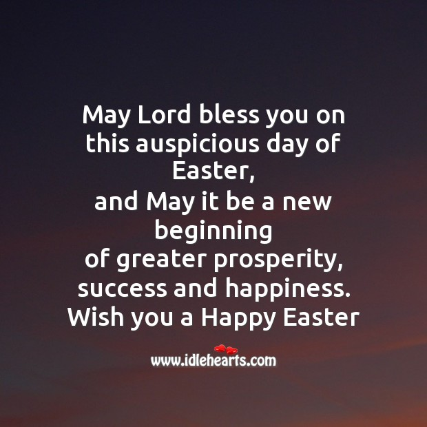 May lord bless you on this auspicious day of easter Easter Messages Image
